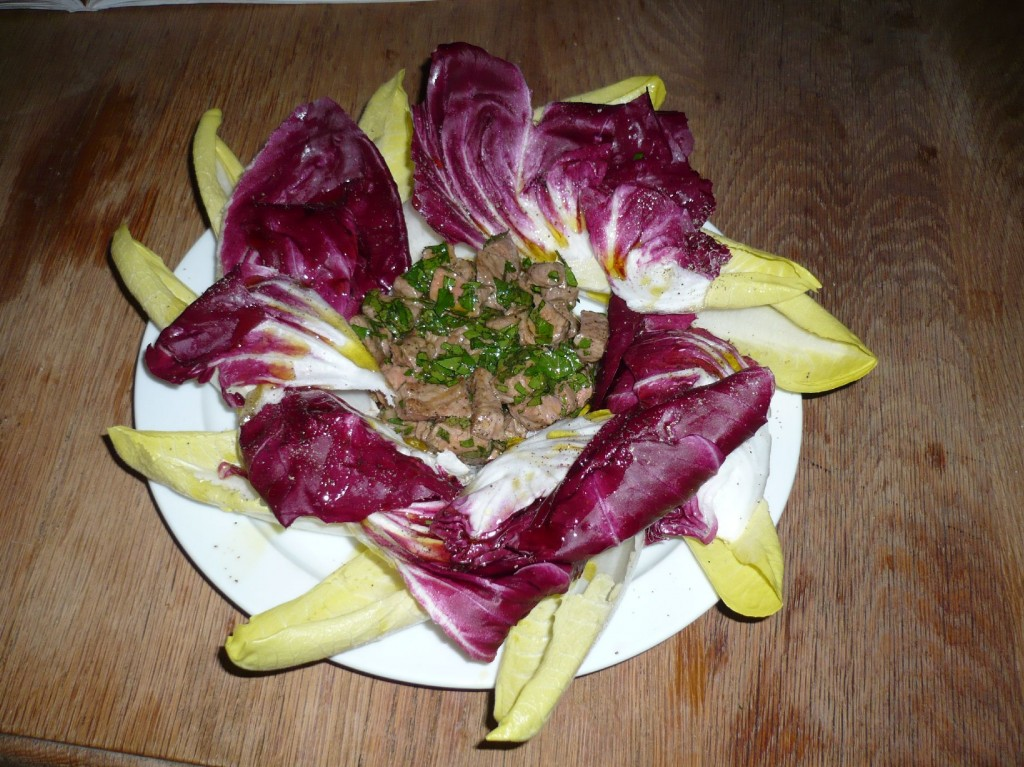 Meat salad with raddichio and endive (Gordon Ramsay)