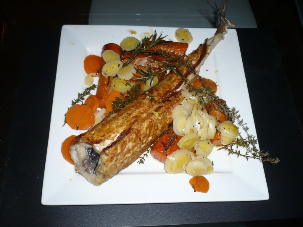 Hake with leeks, carrots, thyme and rosemary (Claus Meyer)