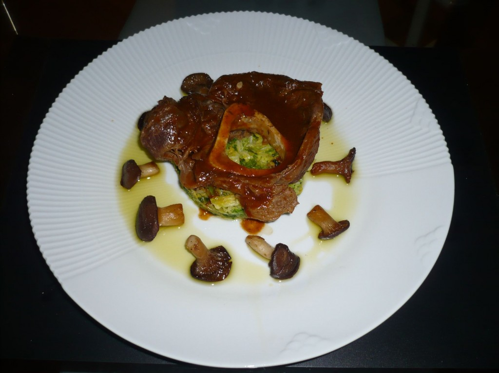 Ossobuco with savoy cabbage, mushrooms and braising sauce (Gordon Ramsay)
