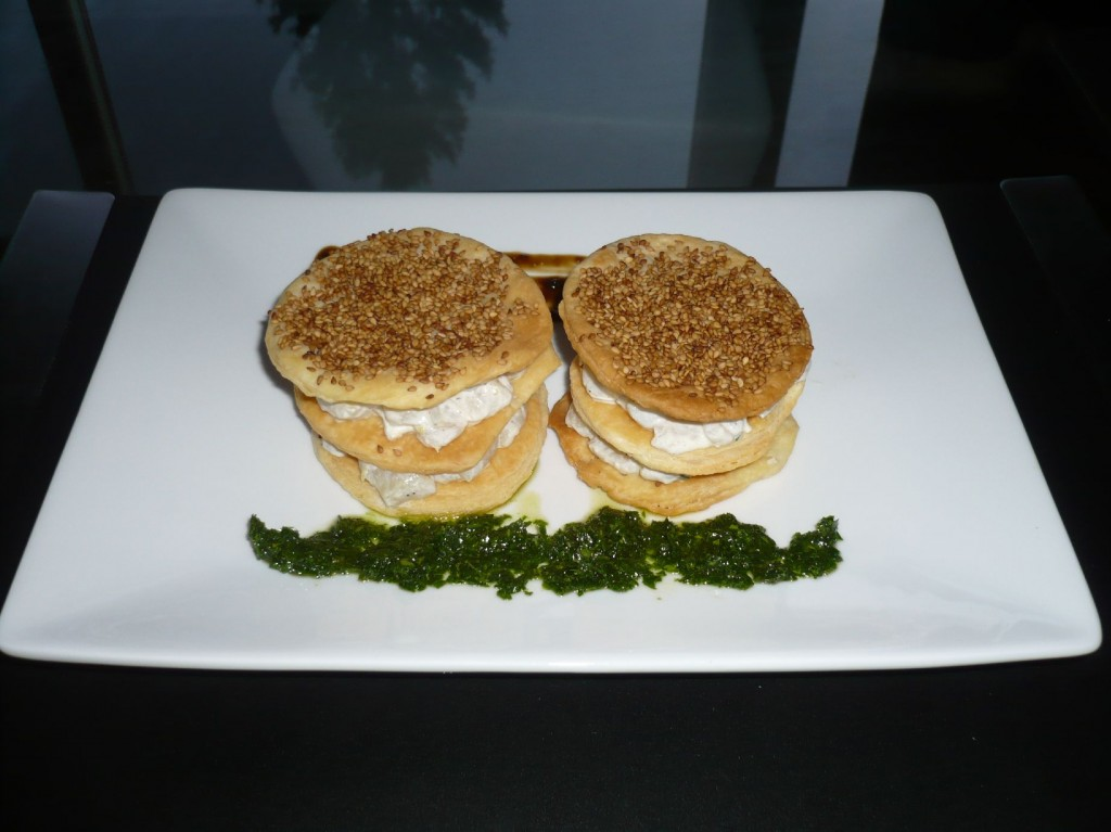 "Raw turbot with mascarpone, puff pastry with sesame, liquorice sauce, parsley sauce (from the book ""Maden til øllet"")"