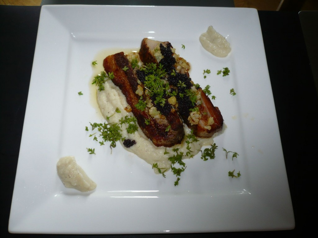 Pork belly with cauliflower purée, fish roe and cress (Wassim  Hallal)