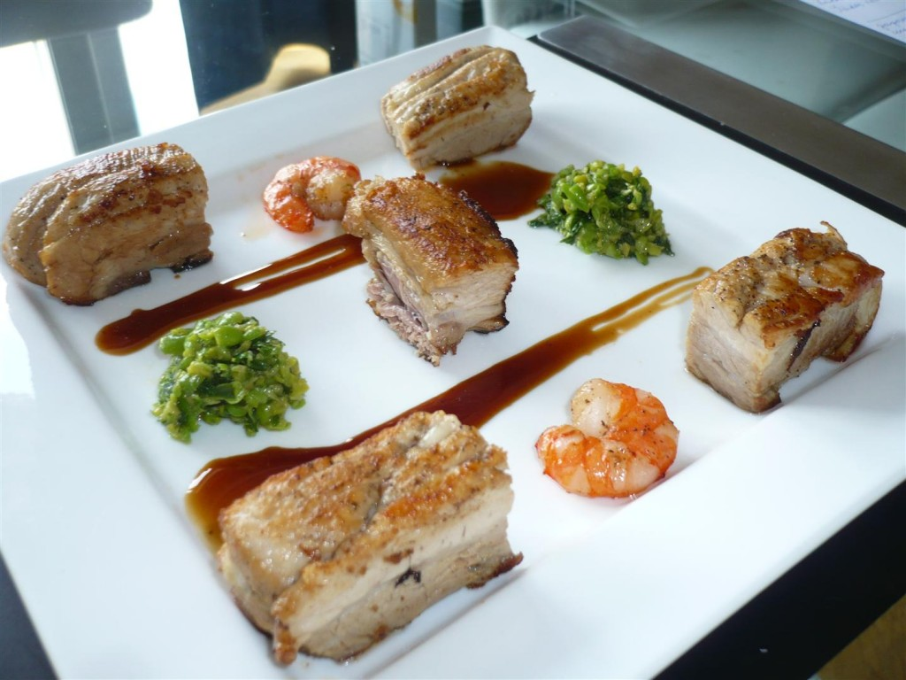 Pork belly, prawns, minted and crushed peas, and madeira sauce (Gordon Ramsay)